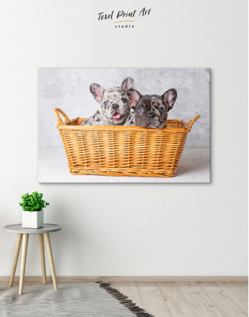 French Bulldog Puppies in Basket Canvas Wall Art - image 4