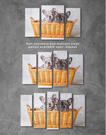 French Bulldog Puppies in Basket Canvas Wall Art - image 5