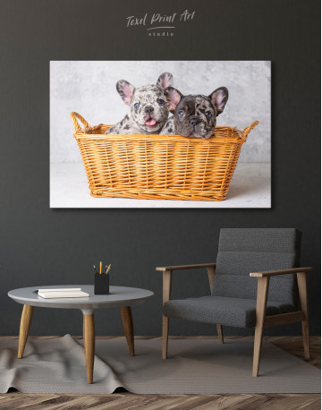French Bulldog Puppies in Basket Canvas Wall Art - image 6