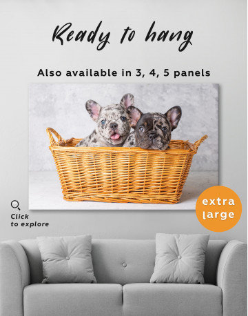 French Bulldog Puppies in Basket Canvas Wall Art - image 7