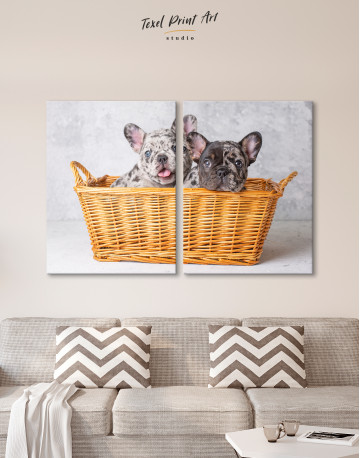 French Bulldog Puppies in Basket Canvas Wall Art - image 1