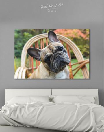 French Bulldog Sitting on Garden Chair Canvas Wall Art