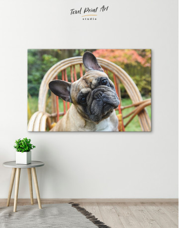 French Bulldog Sitting on Garden Chair Canvas Wall Art - image 6