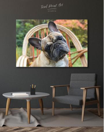 French Bulldog Sitting on Garden Chair Canvas Wall Art - image 4
