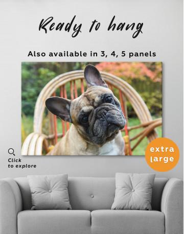 French Bulldog Sitting on Garden Chair Canvas Wall Art - image 3