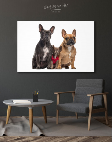 Puppy Chihuahua and French Bulldogs Canvas Wall Art - image 4