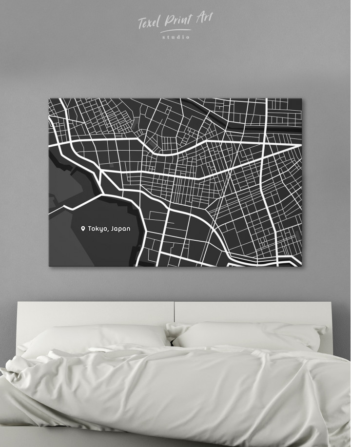 Black and White Tokyo City Map Canvas Wall Art