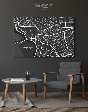 Black and White Tokyo City Map Canvas Wall Art - image 6