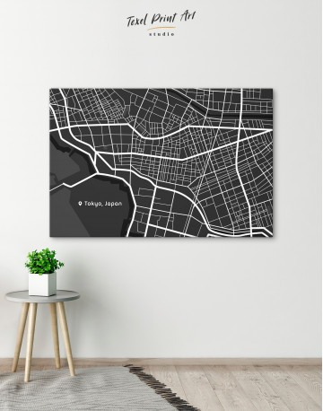 Black and White Tokyo City Map Canvas Wall Art - image 5
