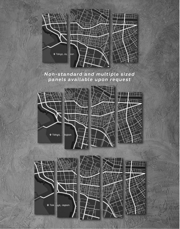 Black and White Tokyo City Map Canvas Wall Art - image 4