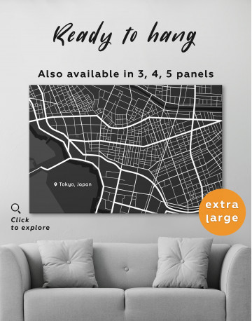 Black and White Tokyo City Map Canvas Wall Art - image 3
