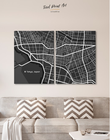Black and White Tokyo City Map Canvas Wall Art - image 10