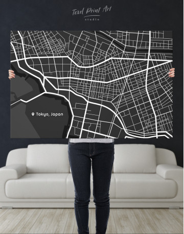 Black and White Tokyo City Map Canvas Wall Art - image 9