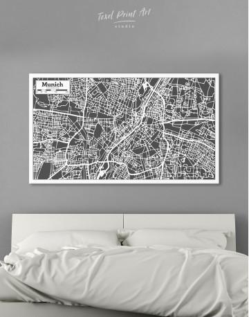 B&W Munich City Map Canvas Wall Art