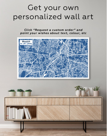B&W Munich City Map Canvas Wall Art - image 6