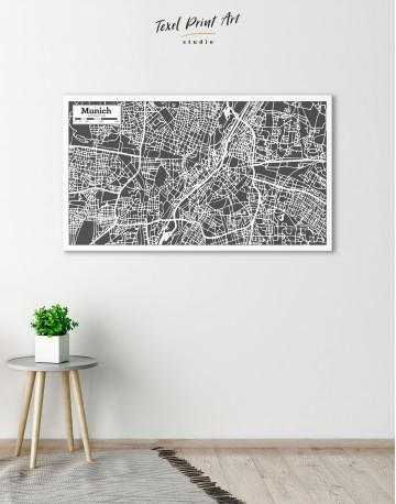 B&W Munich City Map Canvas Wall Art - image 5