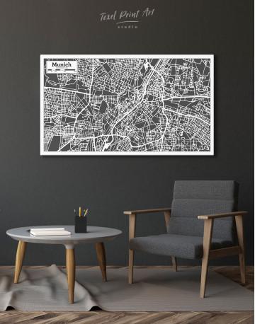 B&W Munich City Map Canvas Wall Art - image 4