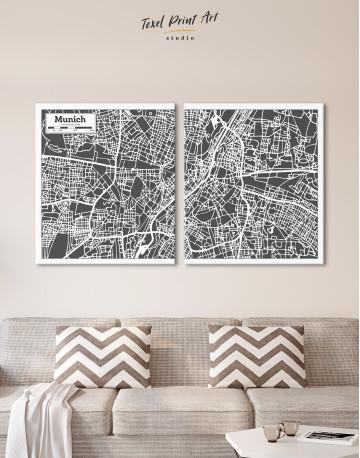 B&W Munich City Map Canvas Wall Art - image 8