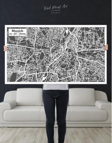 B&W Munich City Map Canvas Wall Art - image 9