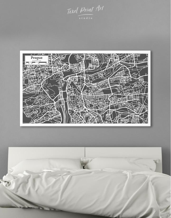 Prague City Map Canvas Wall Art