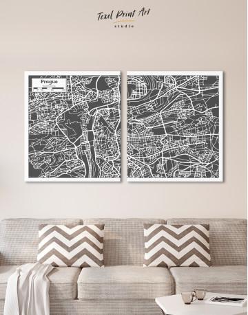Prague City Map Canvas Wall Art - image 8