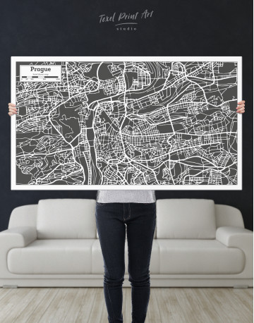 Prague City Map Canvas Wall Art - image 9