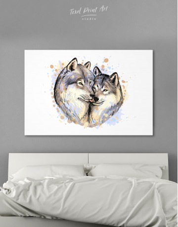 Wolf Couple in Love Painting Canvas Wall Art