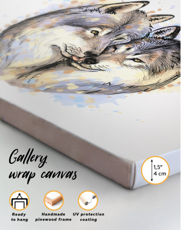 Wolf Couple in Love Painting Canvas Wall Art - image 8