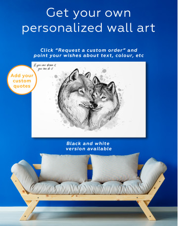Wolf Couple in Love Painting Canvas Wall Art - image 1