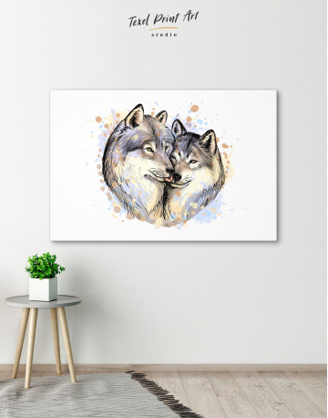 Wolf Couple in Love Painting Canvas Wall Art - image 2