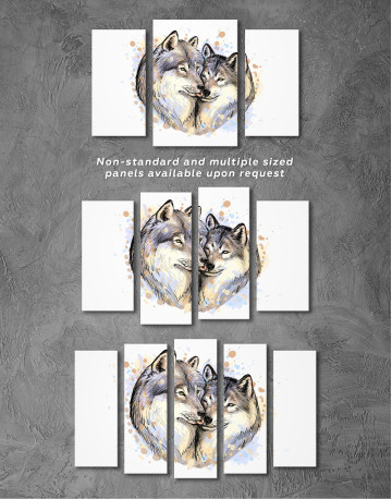 Wolf Couple in Love Painting Canvas Wall Art - image 3