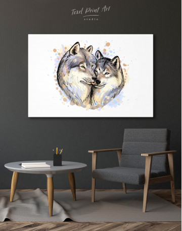 Wolf Couple in Love Painting Canvas Wall Art - image 4