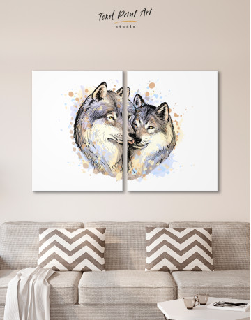 Wolf Couple in Love Painting Canvas Wall Art - image 10