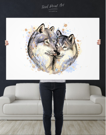 Wolf Couple in Love Painting Canvas Wall Art - image 9
