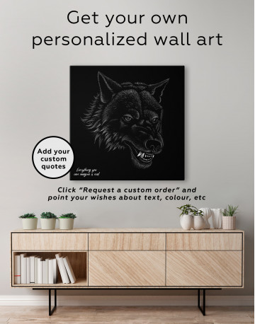 Black and White Wolf Drawing Canvas Wall Art - image 3