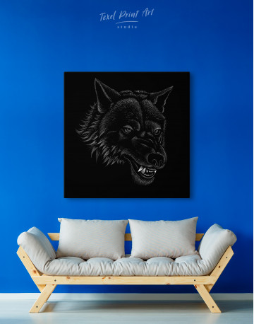 Black and White Wolf Drawing Canvas Wall Art - image 4