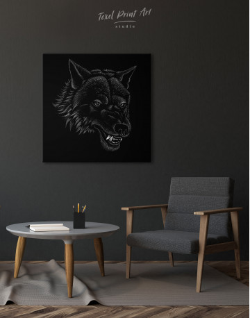 Black and White Wolf Drawing Canvas Wall Art - image 1