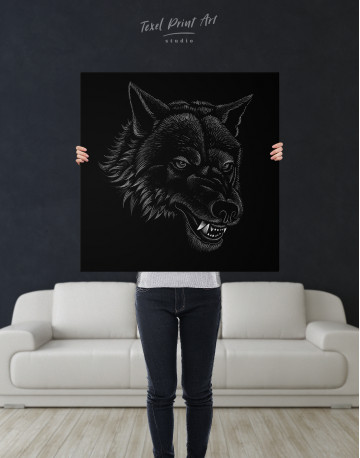 Black and White Wolf Drawing Canvas Wall Art - image 6