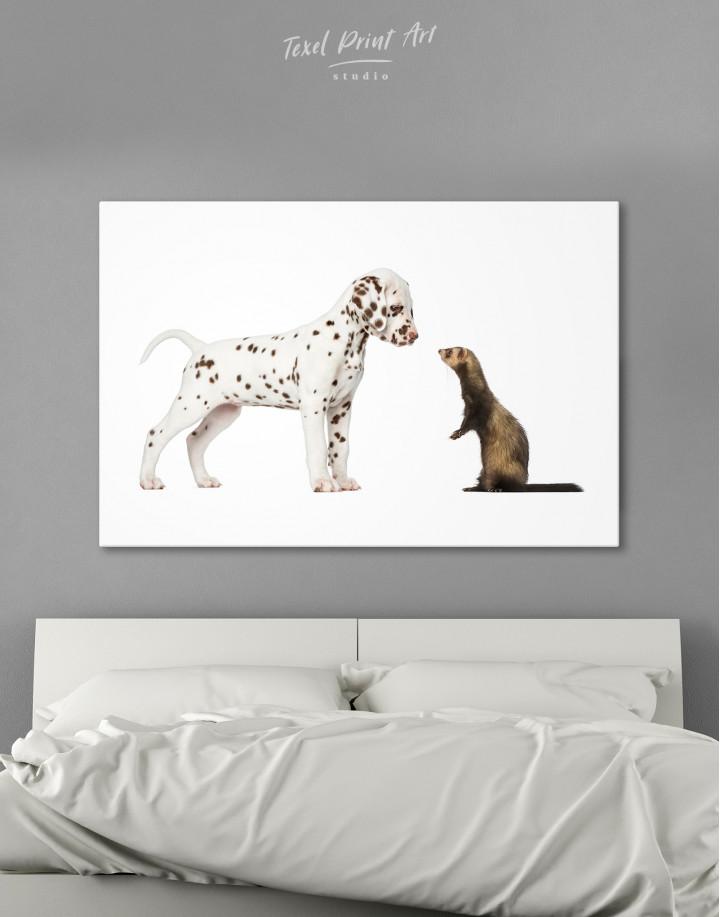 Puppy Dalmatian and Ferret Canvas Wall Art