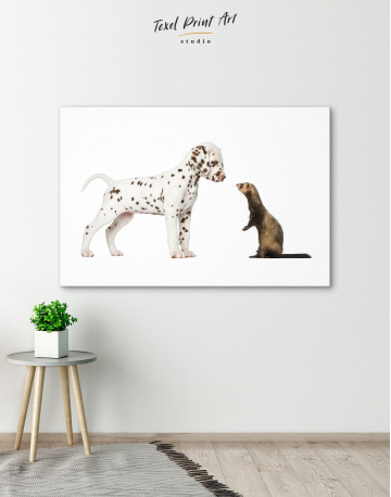 Puppy Dalmatian and Ferret Canvas Wall Art - image 6