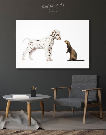 Puppy Dalmatian and Ferret Canvas Wall Art - image 4