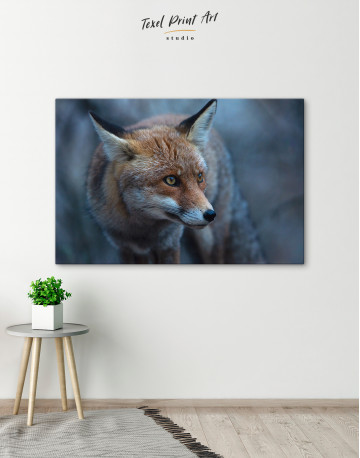 Red Fox in Forest (Portrait) Canvas Wall Art - image 6