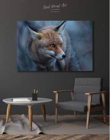 Red Fox in Forest (Portrait) Canvas Wall Art - image 4
