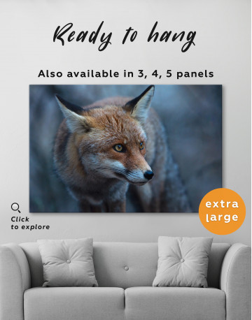 Red Fox in Forest (Portrait) Canvas Wall Art - image 3