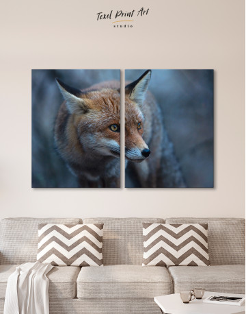 Red Fox in Forest (Portrait) Canvas Wall Art - image 10