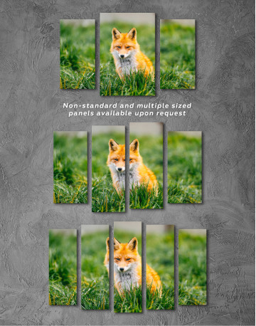 Lovely Fox in Grass Canvas Wall Art - image 4