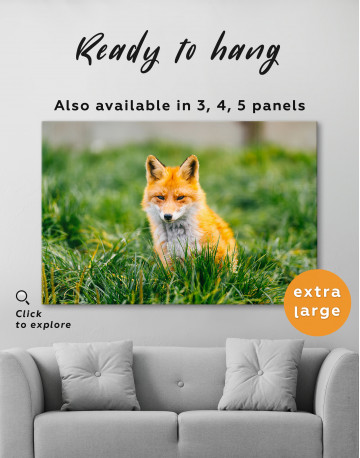 Lovely Fox in Grass Canvas Wall Art - image 3