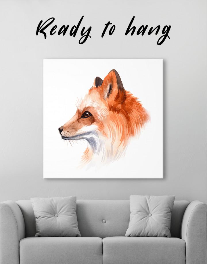 Watercolor Fox Painting Canvas Wall Art