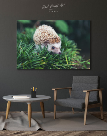 Hedgehog on Green Forest Canvas Wall Art - image 4