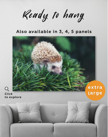 Hedgehog on Green Forest Canvas Wall Art - image 3